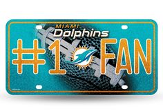 DOLPHINS BLING # 1 FAN METAL TAG