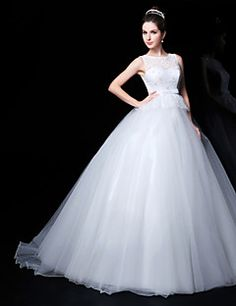 Ball Gown Jewel Court Train Wedding Dress (Lace/Organza). Grab unbeatable discounts up to 70% Off at Light in the box using Coupons.