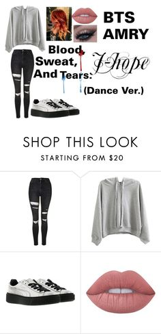 """J-hope (Girl ver.) (Dance Ver.) Blood, sweat and tears."" by btsoutfitsarmy on Polyvore featuring interior, interiors, interior design, home, home decor, interior decorating, Topshop, WithChic, Puma and Lime Crime"