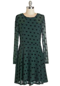 Miss Whiskers Dress by Sugarhill Boutique - Green, Black, International Designer, Print with Animals, Casual, Cats, Critters, A-line, Long Sleeve, Fall, Woven, Better, Scoop, Mid-length, Sheer