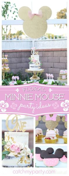 Don't miss this gorgeous rustic  Floral Minnie Mouse birthday party! The naked birthday cake decorated with flowers is amazing!! See more party ideas and share yours at CatchMyParty.com #rustic #minnie #flowers
