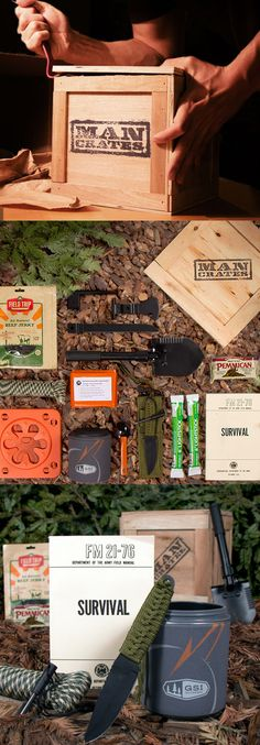 Outdoor Survival Crate // help your man survive in the wild! Haha... awesome! #Valentines gift for him? #ManCrates