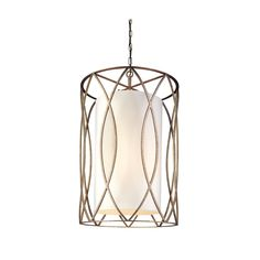 The Sausalito 8-light Entry comes in a silver gold finish and a cream shade. This fixture is made of hand-worked wrought iron and hardback linen material. Canopy dimension: 5.5 inches wide Setting: In