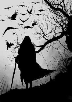 black and white, crow, raven., flock, murder, bare tree, walking stick, staff, silhouette, cape,