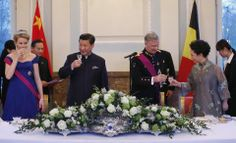King Philipe and Queen Mathilde of Belgium a gala gala dinner for China's President Xi Jinping and First Lady Peng Liyuab in Brussels 3/31/2014