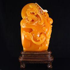 Indonesia Jin Tian Huang Statue - Fortune Dragon 印度尼西亞 田黃石龍騰盛世擺件