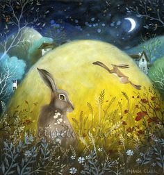 Limited edition Giclee of 'Poppy Hill' by Amanda Clark. Fairy tale art and illustrations, wildlife art, hares, poppies