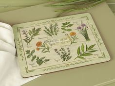 Set of 6 FRESH HERBS Premium Cork-Backed PLACEMATS #CreativeTops #VintageRetro