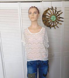 Lace Crop Top Beige Short Sleeve Swimsuit Cover by LandofBridget