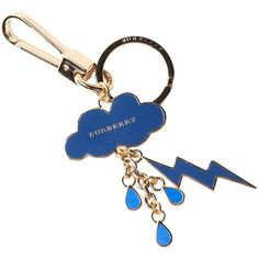 Burberry Blue Carbon And Gold Cloud Key Chain (391083001) ($115) ❤ liked on Polyvore featuring accessories, blue carbon, fob key chain, burberry key ring, engraved key chains, burberry and keychain key ring