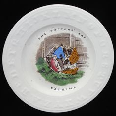 Staffordshire Childs ABC Plate THE POTTERS ART Packing Earthenware c1860   #StaffordshireEnglandc1860