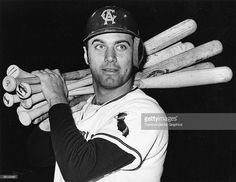 Jim Fregosi of the California Angels poses with eight bats before heading to the plate in a night game at Anaheim, California in 1965.