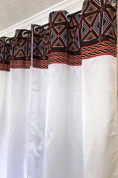 Printed Curtains, White Curtains, Window Curtains, African Interior Design, African House, Diy Home Decor, Room Decor, African Home Decor, Wall Of Fame