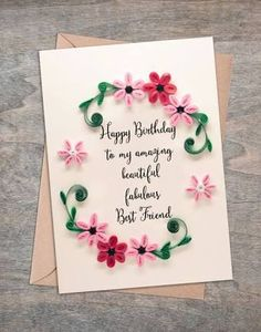 「simple paper quilling birthday cards for friends」の画像検索結果