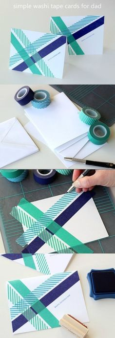 Easy handmade card idea = I enjoy making simple, handmade cards for holidays and birthdays. And I have to say that crafting with washi tape is one of THE easiest ways to make a cute, homemade card. You don't need loads of fancy stamps or layers of paper… just a little tape and a simple stamp!