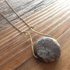 Soapstone and Hammered Brass Necklace by The1YouFeed on Etsy
