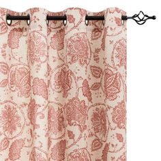 Paisley Scroll Printed Linen Curtains, Grommet Top - Medallion Design Jacobean Floral Curtains Burlap Vintage Kitchen Drapes (Poppy Red, 50-by-84 Inch, Set of Two)