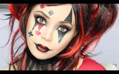 Jesterina/Harlequin Makeup Tutorial up for brown eyes ideas ideen fasching products tutorial videos Makeup Makeup Jester Makeup, Cute Clown Makeup, Eye Makeup, Witch Makeup, Prom Makeup, Wedding Makeup, Harley Quinn Halloween, Halloween Makeup Looks, Pretty Halloween