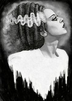 Bride of Frankenstein by Shayne Bohner B&W Monster Canvas Art Print – moodswingsonthenet
