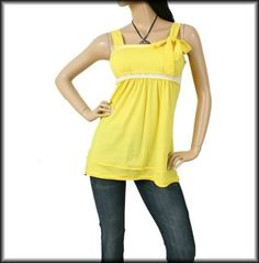 New Comfy Yellow Bow Wide Strap Casual Lace Spring Summer Tank Top Small SM S | eBay $13.99
