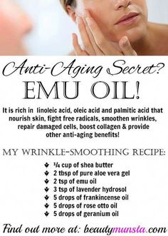 Using Emu Oil for Wrinkles | Anti-aging Recipe, Benefits & More! - beautymunsta - free natural beauty hacks and more!