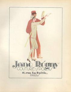 Jane Regny 1928 Sport Fashion, Original Lithograph PAN P.Poiret, Libis