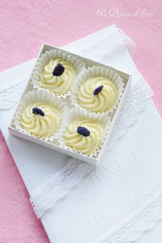 White Chocolate and Violet Truffles