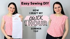 EASY way to draft a SIMPLE summer top! NON traditional method pattern making Sewing Hacks, Sewing Tutorials, Sewing Tips, Sewing Projects, Sewing Ideas, Sewing Patterns Free, Free Sewing, Simple Summer Dresses, Sewing Blouses