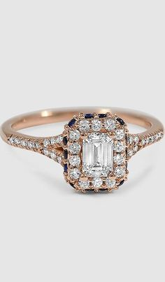 Vibrant sapphires set around the edge of a diamond halo