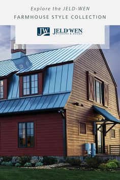 Are you drawn to a look that exudes casual comfort? Peruse the JELD-WEN Farmhouse Style Collection to discover if modern farmhouse is the style for you. Plus, find the farmhouse windows, sliding barn doors, and other elements that will bring this look to your home. Pole Barn House Plans, Pole Barn Homes, House Siding, House Paint Exterior, Modern Farmhouse, Farmhouse Style, Barn House Design, Gambrel Barn, Farmhouse Windows
