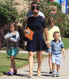 Jennifer Garner taking her children to church in Pacific Palisades, Los Angeles, California on September 2016 Navy Mini Dresses, Pacific Palisades, September 11, Jennifer Garner, Three Kids, Great Friends, Nude, California, Pumps