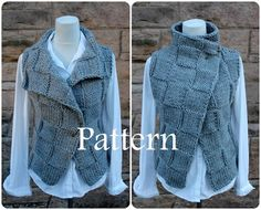 Knitting PATTERN - The Ghost wrap, womens sleeveless jacket, cardigan - Listing141 by laurimukspatterns on Etsy https://www.etsy.com/listing/228795921/knitting-pattern-the-ghost-wrap-womens