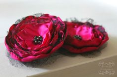 Couture fabric flower Evelyn in hot pink: hair by BindingCreations