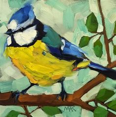 """Daily+Paintworks+-+""""Blue+Titmouse""""+-+Original+Fine+Art+for+Sale+-+©+Mary+Anne+Cary"""