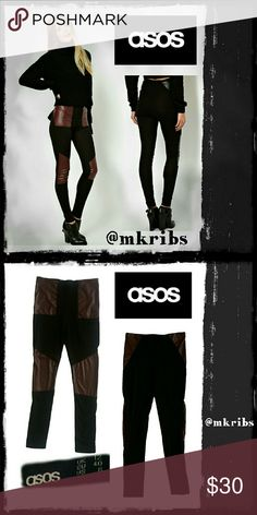 🔴 ASOS leather look panel leggings Edgy leggings with dark oxblood maroon panels. Elastic waist. Size 8, fits medium. NO TRADES PLEASE! OFFERS WELCOME THROUGH OFFER FEATURE ONLY PLEASE! ASOS Pants Leggings