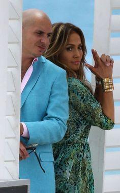 """Jennifer Lopez y el conocido rapero Pitbull estuvieron grabando escenas para su próximo videoclip """"Live It Up""""."""