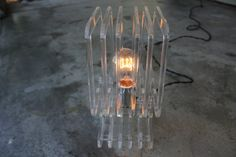acrylic table lamp // laser cut // mid century by ladytulipdesign, $74.00