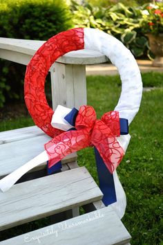 Easy Patriotic Ribbon Wreath by Exquisitely Unremarkable