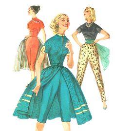 Vintage 1950s Toreador Pants, Mandarin Collar Blouse and Over Skirt Sewing Pattern Simplicity 1812--Bust Junior 33, via Etsy.