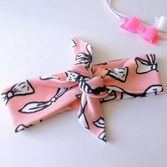 Pink Doodle Bow Knotted Headband