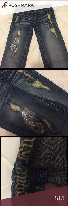 Distressed Sequined Jeans Brand is Antique Rivet. Always had so many compliments on these jeans! *Tagged Miss Me for exposure* Miss Me Jeans Skinny