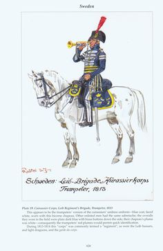 Sweden: Plate 19. Cuirassier Corps, Leib Regiments Brigade, Trumpeter, 1813