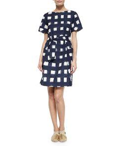Tie-Front Poplin Square Dress, Navy/White, Women's, Size: 0 - Tory Burch