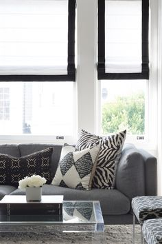 Neutral living room designed by Caitlin Flemming and Homepolish Interior Design Living Room, Living Room Designs, Living Room Decor, Living Rooms, Living Spaces, City Living, Black White Curtains, First Apartment Decorating, Cozy Apartment