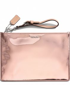 COACH Legacy Flat Zip Case In Mirror Metallic Leather