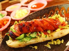 Sausage wrapped in rice sausage.  #Taiwan 大腸包小腸 - Taiwan's awesome version of the Hotdog