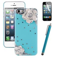 Pandamimi ULAK(TM) Sweety Girls White Flower Design Blue Bling Case Cover Skin Decorated Cute Shining Princess Style for iPhone 5 5G + Stylus + Screen Protector by ULAK, http://www.amazon.com/dp/B00CW5UYWU/ref=cm_sw_r_pi_dp_dSSMrb07PM4GK