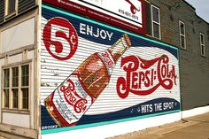 Pepsi sign on a building near Tony Packo's on Front Street in Toledo, Ohio. It was discovered and restored several years ago.