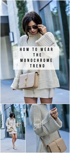 http://www.flauntandcenter.com/2016/10/currently-trending-monochromatic/ monochrome trend, style blogger, chunky knit, suede skirt