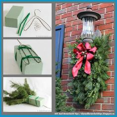 Unique DIY Christmas Decorations for a Completely Different Festive Look Diy Christmas Decorations, Hanging Christmas Lights, Christmas Swags, Light Decorations, Christmas Holidays, Holiday Decor, Primitive Christmas, Country Christmas, Christmas Christmas